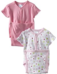 SpaSilk Baby Girls' 2 Pack Flower Print Wrap Bodysuit