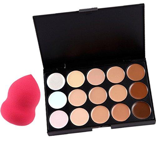 Beauty7 Correcteur de Teint 15 Couleurs + 1 Éponges de Calebasse Palette Crème de Camouflage Concealer Cosmétique Visage Masquillage