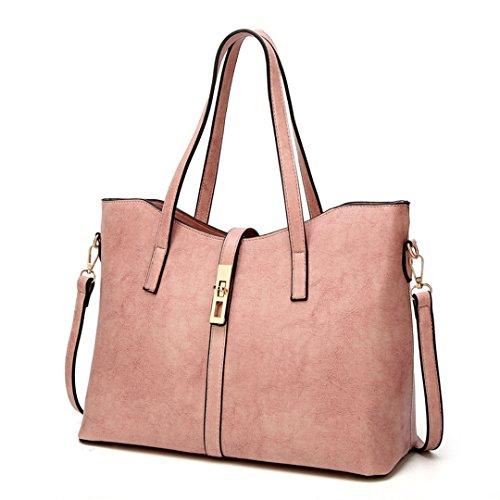 Casual Frauen Handtaschen Leder Weiblichen Umhängetaschen Öl Wachssperre Braun Shopping Damen Umhängetaschen Pink 35cm x 27cm x 15cm