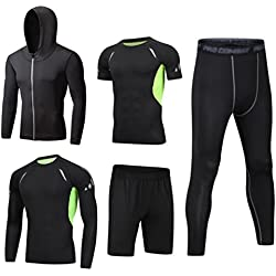 Dooxii Homme 5 Pièces Vêtements de Sport avec Hoodies Vestes Manches Courtes Manches Longues Shirt Compression Collant Short Séchage Rapide Workout Ensemble de Fitness Tenuede Sportswear L