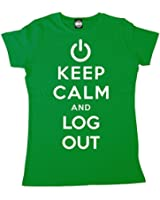 Batch1 Women's Keep Calm And Log Out Computer It Geek Printed T-Shirt