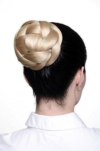 WIG ME UP - Haarteil aufwendig geflochten Zopf Dutt Haarknoten Tracht Aschblond breit voluminös mit Strass-Steinen/ Glitzersteinen JL-SZ01-15