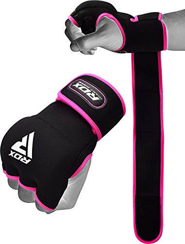 RDX Damen Boxbandagen Boxen Elastisch Innenhandschuhe MMA elastisch Handschuhe Daumenschlaufe (MEHRWEG) (Stanzen Rosa Handschuhe)