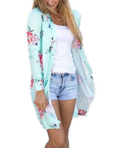 FASTYLING Women Casual Cardigan Long Sleeve Kimono Irregular Floral Printed Coat Tops Outwear