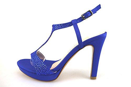 ALBANO sandali donna blu seta swarovski AG201 (35 EU)