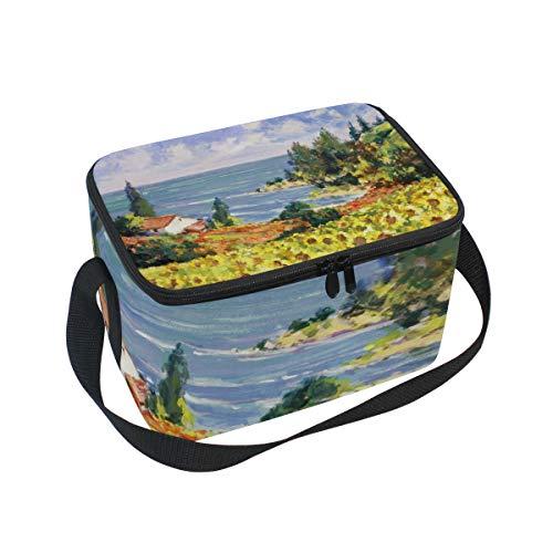 Bali Ölgemälde des Dorfes Lunchtasche Kühltasche Picknicktasche für Kinder Erwachsene Mädchen Jungen -