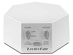 LectroFan - Fan Sound and White Noise Machine - White (with UK, EU, US AC/USB Adapter)