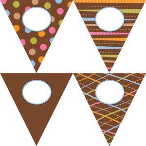 12x Dots on Chocolate Pennants  lati (Jumbo) per Classroom display