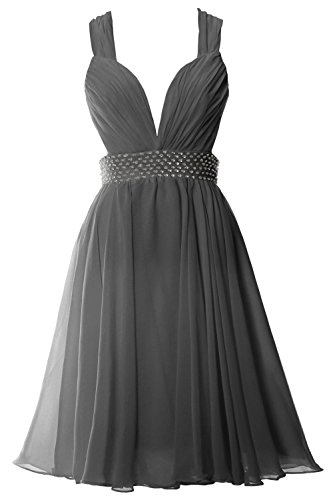 MACloth Women Straps V Neck Chiffon Short Prom Party Dress Sexy Formal Gown gray