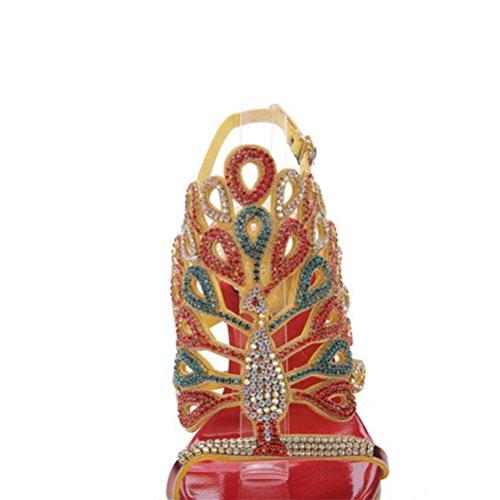 QPYC Tacchi alti da donna con tacco a tazza con tacco Openwork Sandali con paillettes in rilievo metallico Bocca poco profonda dopo la fibbia red (fine with)
