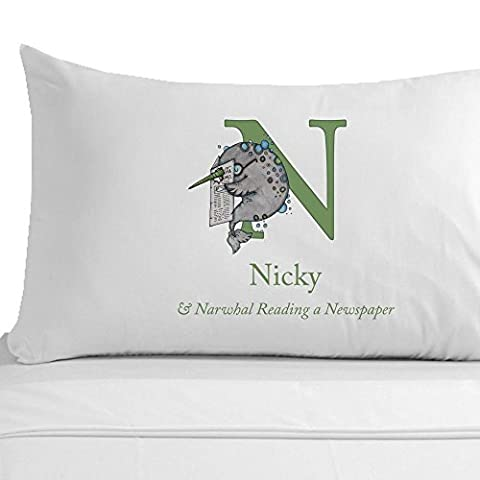 Narwhal Reading a Newspaper Pillowcase, Personalised Kids Names Gifts, N Animal Name Keepsakes, Learn Alphabet Tools, 100% Egyptian Cotton Pillowcase by Personalised Gift Ideas