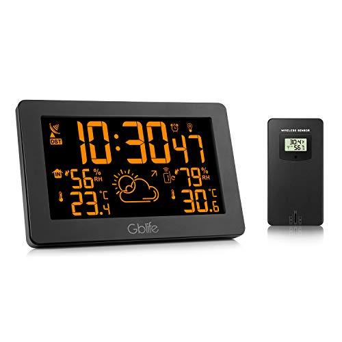 GBlife Digitale Wetterstation mit Funk, Außensensor/USB Port, Einstellbare Helligkeit, Temperatur- & Feuchtigkeitsmesser, Wettervorhersage, Uhren/Wecker, All-in-One 8 Farben wechselbare Display