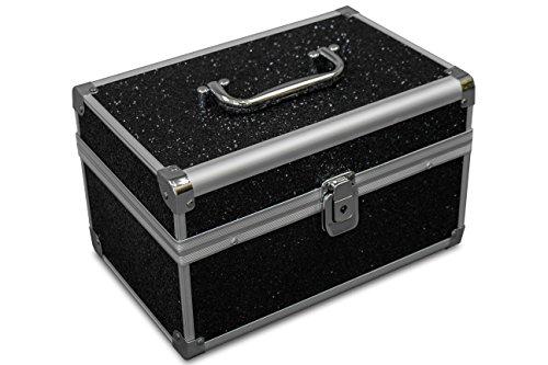 MARELIDA® Schmuck-Kästchen in Schwarz | Glitzer-Optik | Premium Schmink-Beauty-Koffer - klappbaren Fächer | Edel in Form & Design | Ideal als Geschenk