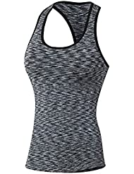 brightup Mujeres Racerback Sports Fit depósitos Chaleco sin mangas Workout Slim–Camiseta, color gris oscuro, tamaño Asien M