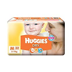 Huggies New Dry Medium Size Diapers - 32 Counts