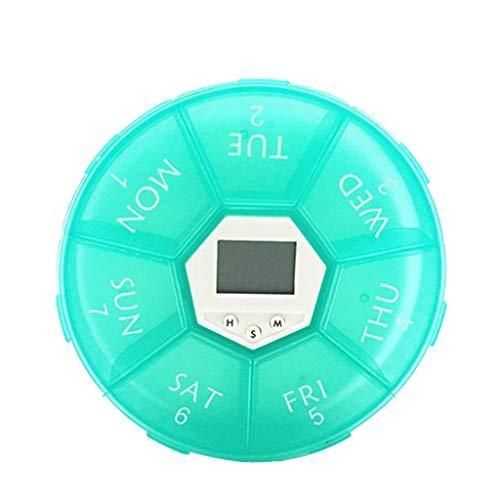 Pillendose für 1 Woche, Intelligente elektronische Zeitanzeige, für 7 Tage, tragbar, tragbar, Medikamentenbox -