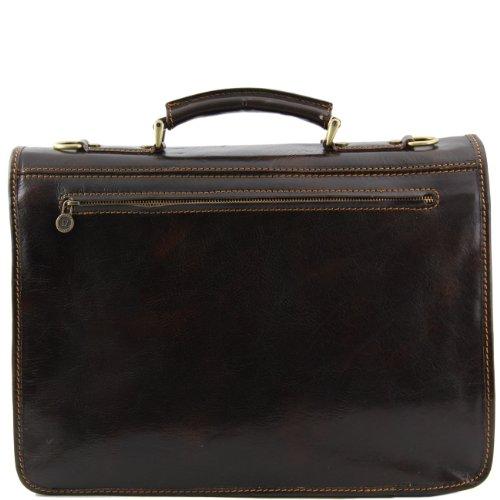 Tuscany Leather Modena - Messenger Tasche aus Leder 2 Fächer - Gross Braun Lederaktentaschen Dunkelbraun