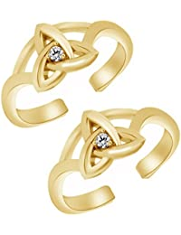 Jewels Exotic Fashion Toe Rings For Women 0.02 CT White CZ 925 Sterling Silver 14K Yellow Gold Fn