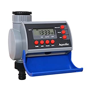 Aqualin LCD Display Solenoid Valve Digital Water Timer For Home Garden Irrigation Watering System Controller