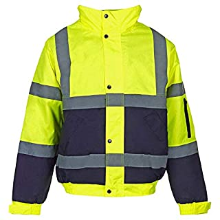 Hi Viz Bomber Jacket Two Tone Reflective Tape Waterproof Quilted Work Jacket Coat High Vis Visibility Safety Workwear Security Road Works Concealed Hood Fluorescent Flashing Top (Yellow/Navy, S)