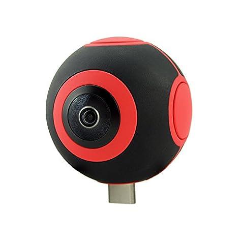 360 Grad VR Video Action Kamera direkt teilen die Panorama-Format Video Bilder auf Facebook Youtube.Dual Kamera Echtzeit Nahtlose Nähte für Android Phone (Typ-C und USB-Anschluss) Schwar