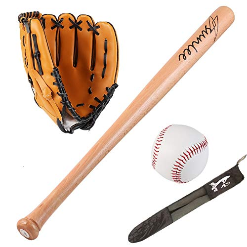 Sport all'Aria Aperta Guanti 25inch Legno Mazza da Baseball Set di Softball Palla Baseball Set con Il Sacchetto Bat del Bit Bats Kit Softball idoneità Fisica (Color : Brown, Size : Other)