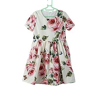 ADIASEN Blumenmädchenkleid mit Blumenmädchenkleid Weiches bequemes Kleid für Mädchen (rosa, 5-6 Jahre)
