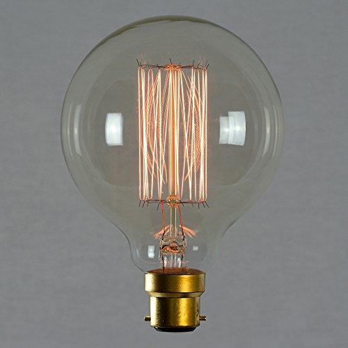 Vintage Retro Edison Glühbirne 60W B22 - Vollständig Dimmbar Antike Glühfaden Globe 95mm - The Retro Boutique ® (Antike Leuchtmittel Globe)