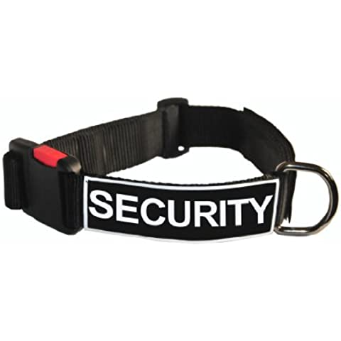 Dean and Tyler Patch Collar, Nylon Dog Collar with SECURITY Patches - Black - Size: Small - Fits Neck 18-Inch to 21-Inch by Dean &