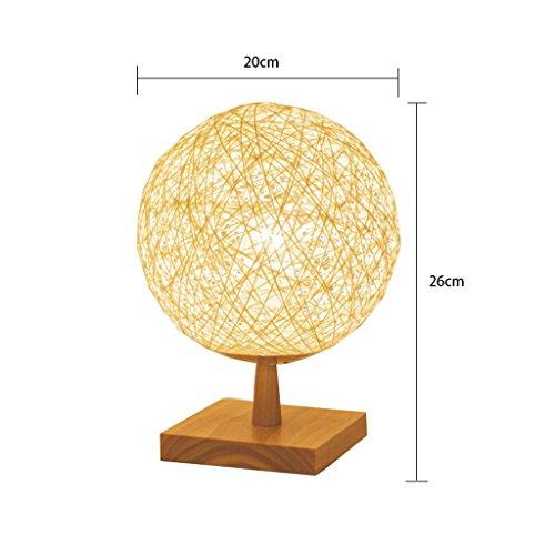 Beige Glasschirm (JIAHONG Kreative Nachttisch sphärische Tischlampe, pastorale Braided Beleuchtung Nachtlicht, Druckknopfschalter E27 ( Color : Beige ))