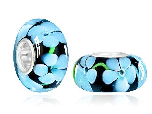 Materia Collezione Murano vetro a forma di fiore blu/nero - tubo in 925 argento Sterling - per perline bracciali & collane #1049