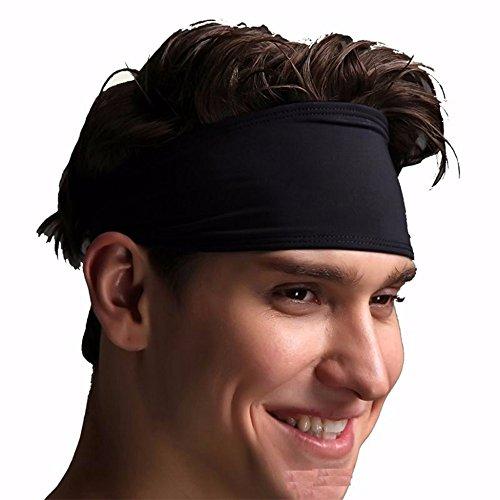 Jjunlim unisex di sport fascia uomini donna felpe fascia capa fascia elastica dei capelli neri accessori sport antisdrucciolevole del parasudore per yoga pilates esecuzione fitness crossfit gym
