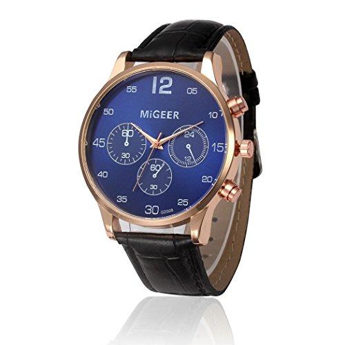 Preisvergleich Produktbild Sansee Retro Entwurfs Leder Band analoge Legierungs Quarz Armbanduhr - MIGEER-Gürtel-Uhr (schwarz)