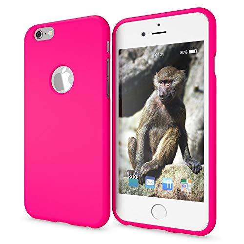 NALIA Handyhülle kompatibel mit iPhone 6 6s, Ultra-Slim TPU Silikon Neon Case, Dünnes Cover Gummi Schutzhülle Skin, Etui Handy-Tasche Backcover Smartphone Bumper, Farbe:Pink Pink Gummi Case