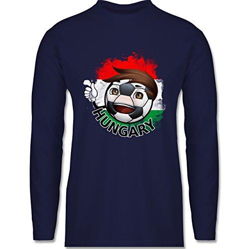 Shirtracer Fußball - Fußballjunge Ungarn - Herren Langarmshirt Navy Blau