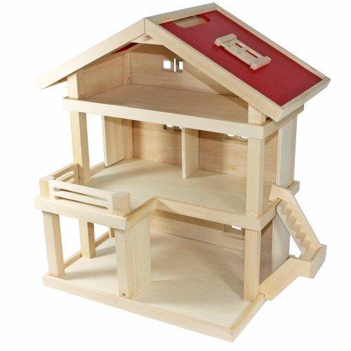 Villa Freda Puppenhaus aus Holz mit 3 Etagen Tragegriff 46 x 35 x 58 cm (B x T x H)