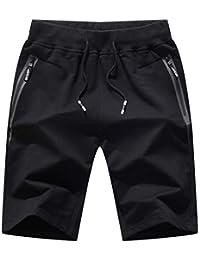 JustSun Mens Casual Sports Joggers Gym Shorts Elastic Waist Zip Pockets