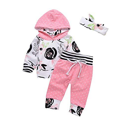 EFINNY 3 Stück Baby Mädchen Herbst Kleidung Set Floral Kapuzenpulli Polka Dot Hose mit niedlichen Stirnband für 0-24 Monate -