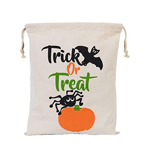 een-Dekor Kordelzug Strahl-Port Sack Leinwand Halloween Druck Taschen Trick or Treat Taschen mit Kürbis-Dekoration ()