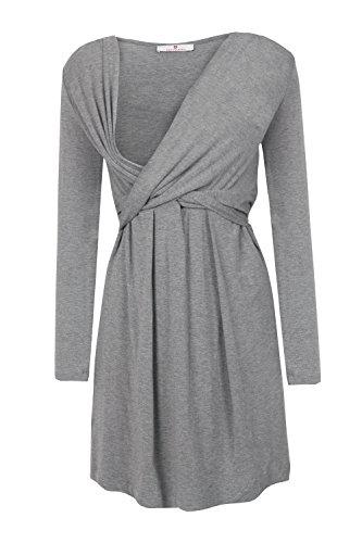 bellybutton Maternity Damen Umstandskleid Alina-Stillkleid 1/1 Arm, Grau (Middle 8500) - 3