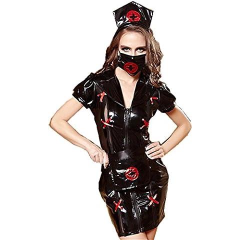 ZOYOL Vestito donna nero infermiere cosplay uniformi tentazioni giocare kit di piacere , black , m