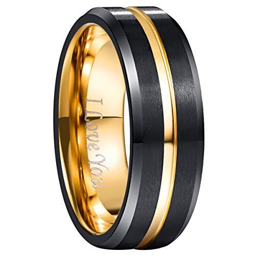 amen Gravur I Love You, Wolfram Unisex Ring 8mm Breit Fashion Schmuck Ring für Hochzeit, Verlobung, Größe 52 bis 72 ()