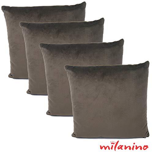 milanino 4er Set Dekokissen mit Füllung und Bezug | 40x40 cm | Premium Füllkissen samtweich Sofakissen Couchkissen Zierkissen mit Kissenhülle | pflegeleicht | mit Reißverschluss | Design (Braun)
