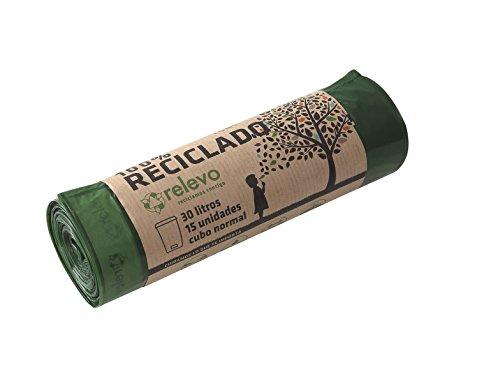 Relevo 100{176edc6809992e97b1b23f3c1b629fb2027fe5a3826db8ac8666375ae712c2c1} Reciclado Bolsas de Basura, extra resistentes 30 L, 15 bolsas