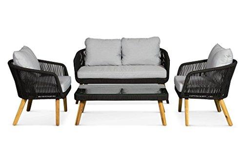 LANTERFANT - Loungeset Alex, Schwarz, Gartenmöbel-Set, Gartengarnitur, Sitzgruppe, 4 Sitze,...