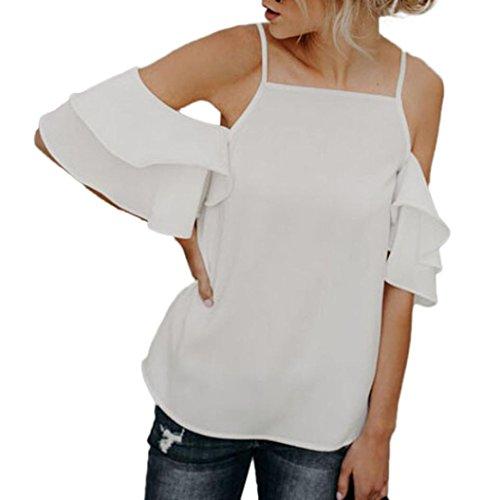 OSYARD Damen Sommer Weg von der Schulter Kurzarm Bluse T-Shirt(EU 46/XL, White)