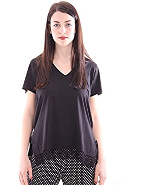 Seventy Black Cotton T-Shirt with Lace Inserts, Mujer.