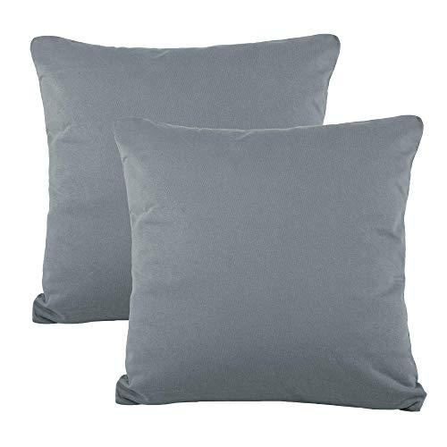 CelinaTex BeNature Kissenbezug Doppelpack 50 x 50 cm dunkel grau Baumwolle Dekokissen Bezug Jersey 5001814 -