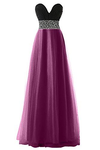 KekeHouse® Robe Bustier Bicolor Longue de Cérémonie Soirée Mariage Femme fille Robe de demoiselle d'honneur Violet profond