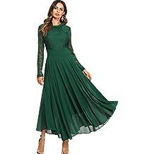 343c7489fb7 SOLY HUX Femme Robe à Manches Longues Fluide en Dentelle Contrastée Maxi  Robe Long Robe Plissé